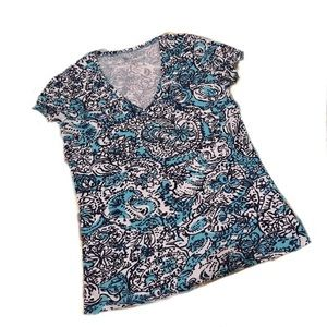 Lilly Pulitzer Blue White Floral Cotton Tee Small